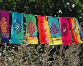 BUDDHA OM prayer flags Spiritual gift Yoga Meditation Art BUDDHA Wall art Zen Decor Yoga Print Tibetan Buddhist Bunting Tapestry flag Banner