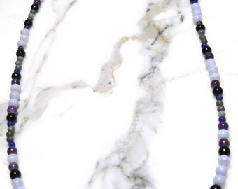 Semi-Precious Hand Strung Blue Lace Agate, Snowflake Obsidian, Lapis Lazuli. Onyx, Amethyst, and Stone Beaded Necklace