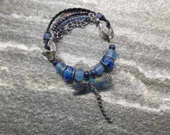 Blue Lampwork and Sea Glass Dragonfly Bracelet