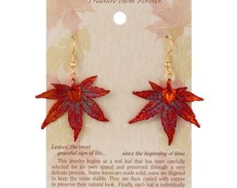 Real Japanese Maple Leaves Dipped In Iridescent Copper - French Hook Earrings - Iridescent Copper Electroplated - Carded