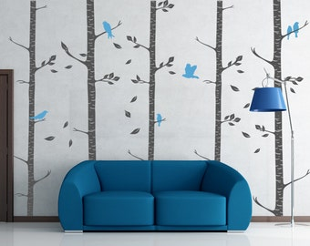 Birch Trees Decals - Wall Decal Birch Trees with Birds Wall Decor - Birch Wall Trees - WAL-2111