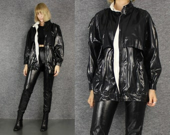 90's black pvc futuristic jacket  S  M