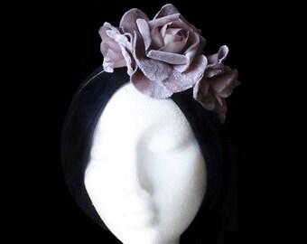 Pink bridal flower crown. Wedding flower headpiece. Velvet flower headpiece. Pink flower headband. Bridesmaid crown. Cocktail headpiece.
