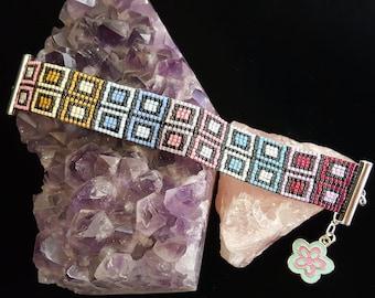 Colorful boxes bead-woven bracelet