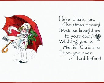 Christmas Card - Little Girl with Umbrella Brings Gifts - Holiday Notecard