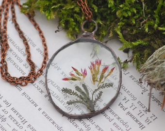 Terrarium necklace Real flowers Minimalist necklace Cool necklace Bridal jewelry Bridesmaid necklace Terrarium jewelry Gift for her Bohemian