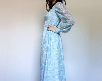 Vintage Baby Blue Dress Long Floral Maxi Dress Sheer Sleeve Spring Pastel Dress - Extra Small XS