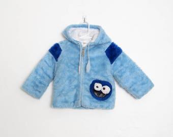 Kid's Vintage Cookie Monster Coat / Blue Faux Fur Zip Up Hoodie / Vintage 70s Sesame Street / JCPenney Toddler Jacket / Size 2T