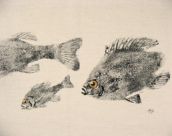 ORIGINAL Perch and Bluegills GYOTAKU Fish Rubbing Lake Art on Best Natural Muslin cloth for cabin or cottage