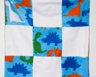 Blue and White multicolored dinosaur quilt, car seat, crib or lap blanket