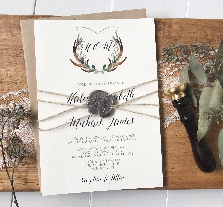 Rustic Green Wedding Invitation. Antler Wedding Invitation