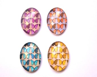 4 butterfly image glass cabochons colorful 30x40mm