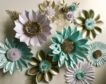 Pearl and Aquamarine Giant Paper Flower Backdrop, wall decoration, photography prop