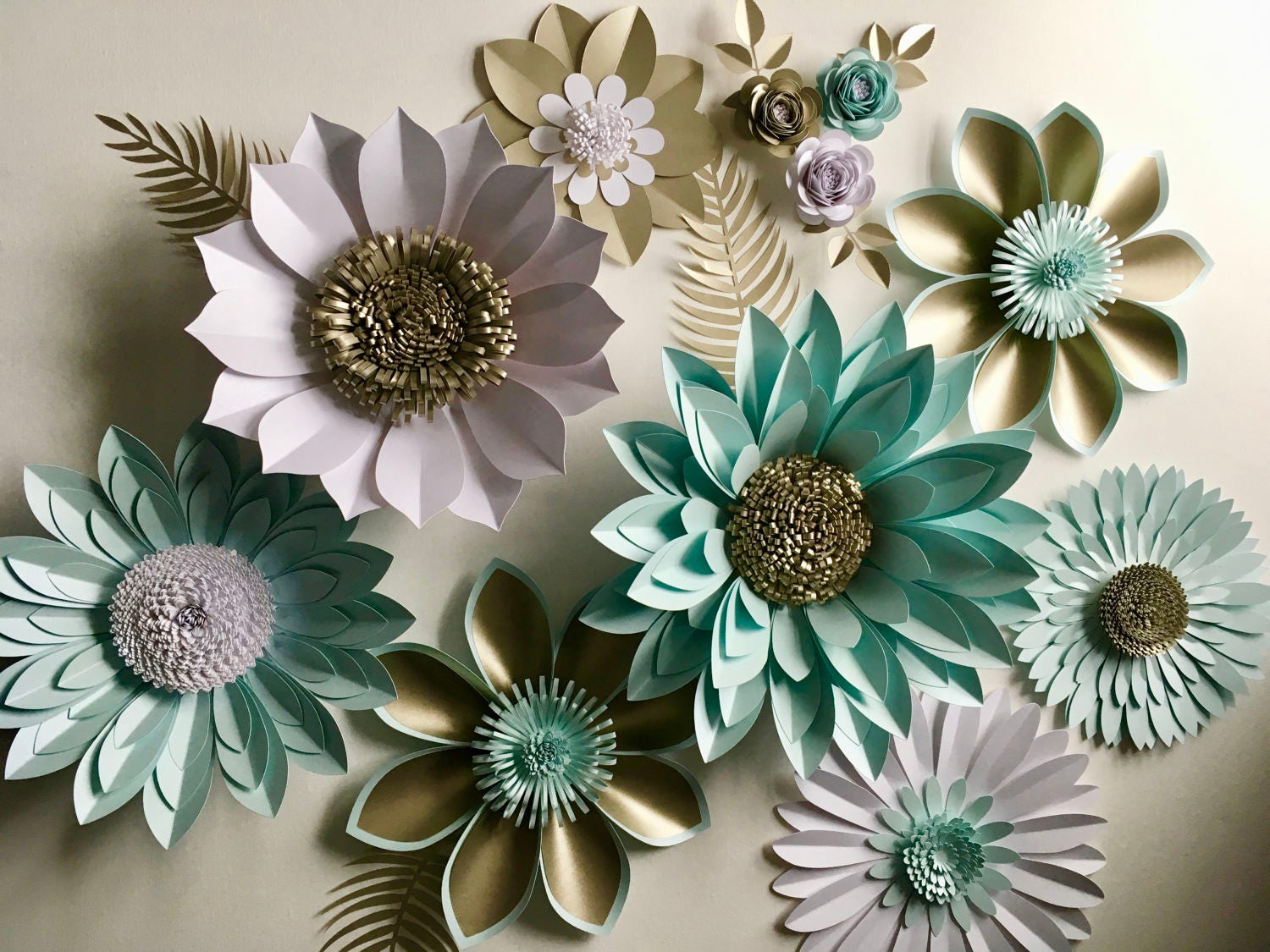 pearl and aquamarine giant paper flower backdrop wall. Black Bedroom Furniture Sets. Home Design Ideas