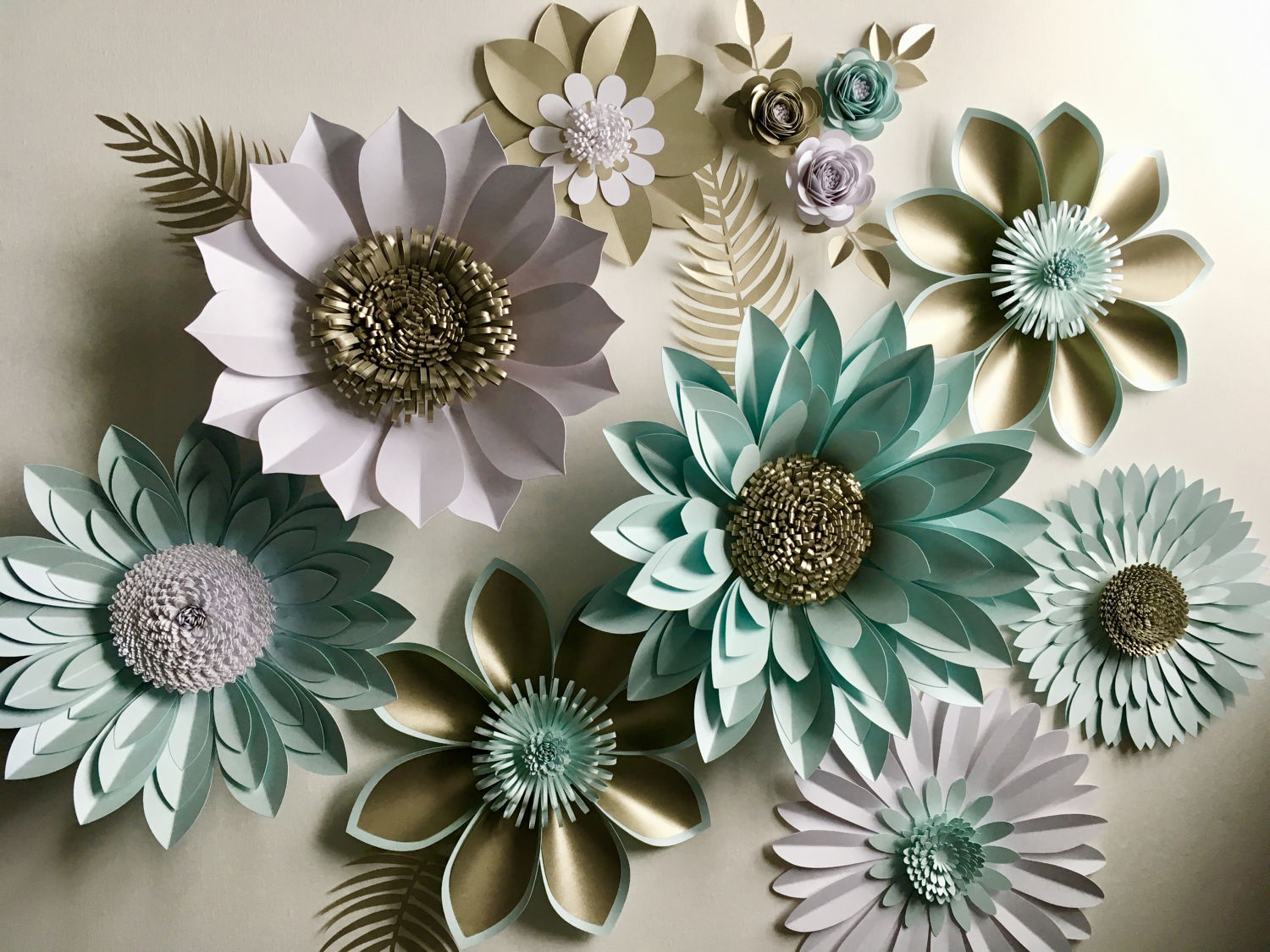 Pearl And Aquamarine Giant Paper Flower Backdrop Wall Decoration Photography Prop