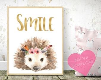 Cute hedgehog, nursery wall art, woodland nursery, hedgehog gift, baby wall art, nursery animals, animal prints, woodland animals, Wall art