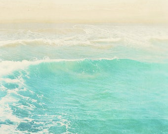 beach photography, ocean wave, Hermosa Beach California, Surge, aqua cyan glacier ice blue, surfer, summer vacation, beach print, peppermint