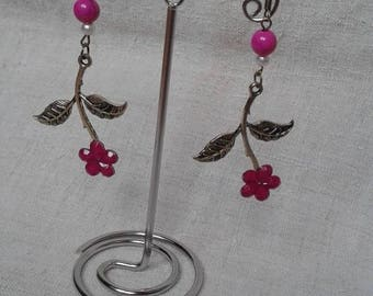 bronze and Pink Flower Earrings
