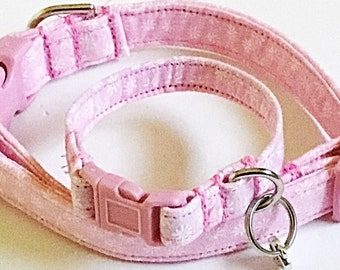 Pink & White Floral Collar with Matching Friendship Bracelet and Charm for Dogs and Cats
