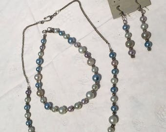 Vintage pearl and glass bead necklace, ankle bracelet and earring set
