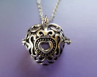 Heart Locket Aromatherapy Essential Oil - Bola Ball / Angel Caller Necklace