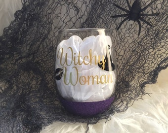 Witchy Woman Purple Glitter Dipped Stemless Halloween Wine Glass