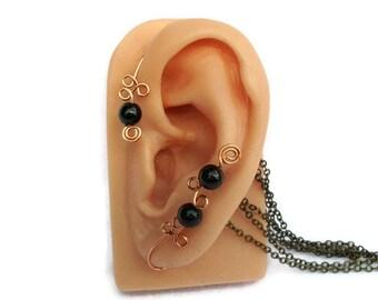 Ear Cuff Wrap Copper Black