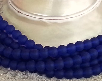 Sea Glass Beads -  Frosted Royal Blue -  6mm Round Center Drilled Cultured Sea Glass Beads - 1 strand of 37 beads