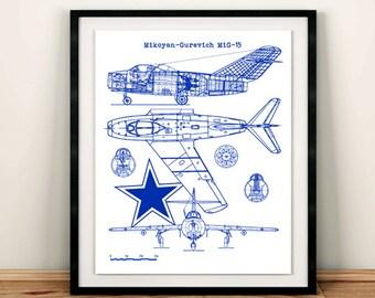 "MIG-15 blue print, Instant Download, Mig-15 aircraft blueprint, Soviet Military, Soviet wall art, Aviation Art, 8x10"", 11x14"""