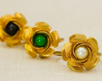 Gold Rose Vintage Ring Green Black Pearl Bead Pick Your Color US Womens Sizes 7RI