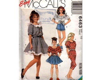 McCall's 6463 Girls Peasant Tops Skirts Shorts & Pants 90s Vintage Sewing Pattern Size 10 Breast 28 1/2 inches UNCUT Factory Folded