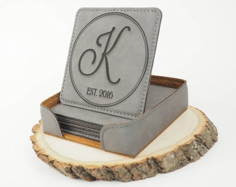 Personalized Coasters, Monogrammed Coasters, Laser Engraved Faux Leather Coasters