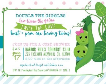 Two peas in a pod baby shower invitation two peas in a pod twin baby shower invitation digital file filmwisefo Image collections