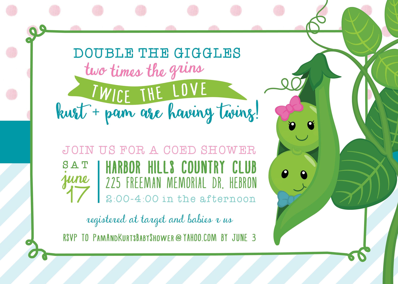 Two Peas in a Pod Twin Baby Shower Invitation DIGITAL FILE