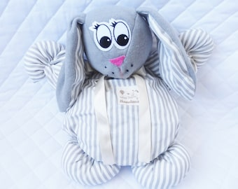 Gray and white cotton fabric Bunny plush - stuffed rabbit - baby blanket