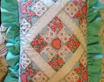 SALE!  Hand Embroidered Throw Pillow