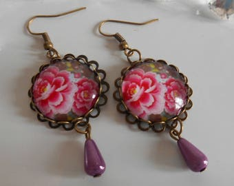 """Bronze stamped earrings """"Pink rhododendron"""" glass cabochon"""