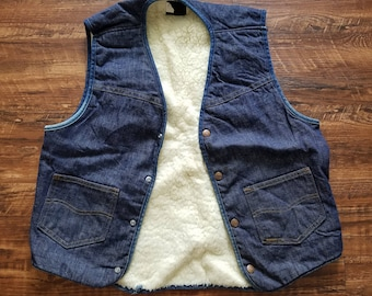 Sears Roebucks Fleece Lined Denim Vest