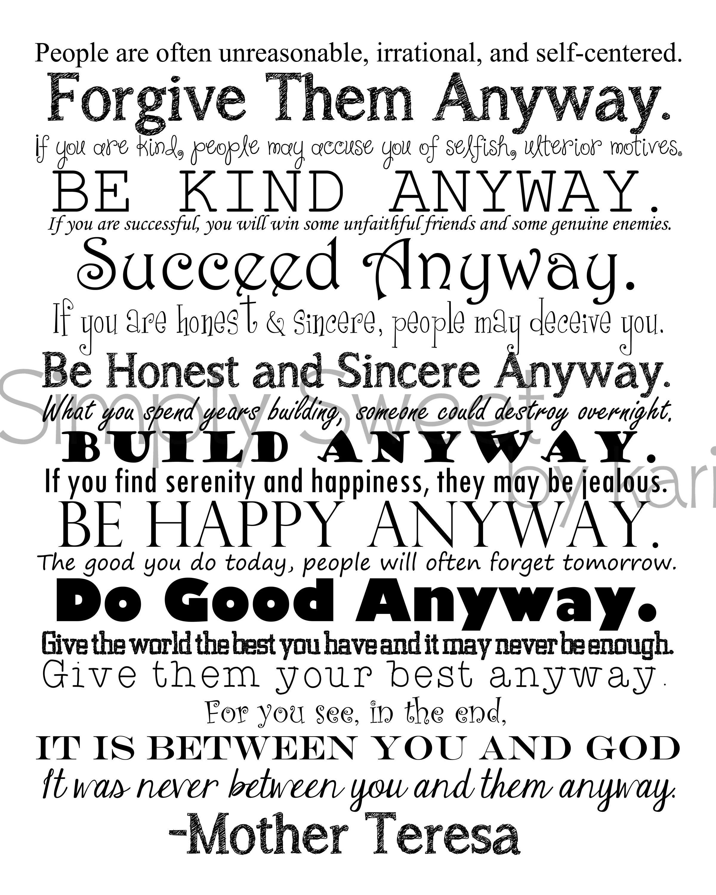 Mother Teresa Quotes Love Them Anyway Do It Anyway 8X10 Digital Download