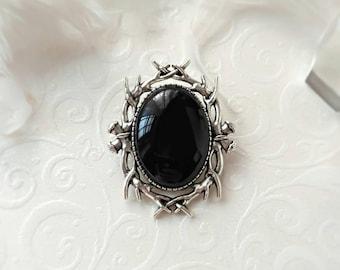 Gothic Victorian Black mini Brooch, Black Stone Gothic Victorian Brooch, Vampire Jewelry, Gothic Victorian Jewelry, Rockabilly jewelry