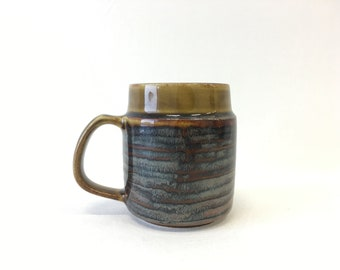 """Finnish Arabia pint sized mug, Vintage ceramic beer mug, """"NT"""" serie stoneware with stunning matte glaze produced from 1949 to 1964"""