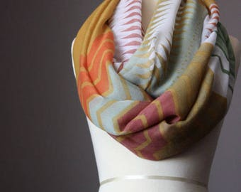 Taupe/Orange/Ivory/Khaki light infinity scarf, chevron pattern, printed scarf, gift for her