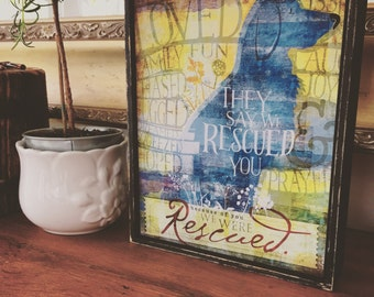 Rescue dog typography 8 x 10 hand painted frame canvas artwork illustration dog art by stephen fowler In Awe of Paws™ Collection