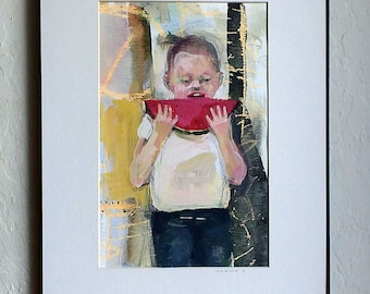 art Girl watermelon painting original watercolor MATTED acrylics child portrait figurative people
