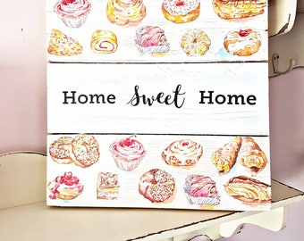 Home sweet home plaque, wooden sign, reclaimed wood sign, cake sign, cake kitchen decor, shabby chic decor, baking gift, cute kitchen decor