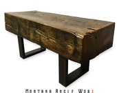 Reclaimed Montana Bridge Beam Bench, Timber Bench, Rustic Bench, Coffee Table, Refined Industrial, Industrial Chic, Montana Barn Wood Bench
