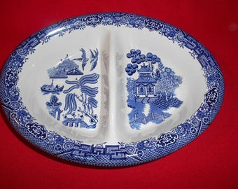 """One (1), 10"""" Oval, Divided Vegetable Bowl, from Churchill, in the Georgian Shape, Willow Blue Pattern."""