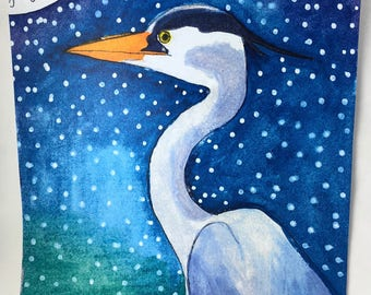 Blue Heron Watercolor Print