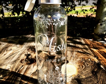 Personalized Engraved Glass Bottle with Tall Floral Pattern , glass water bottle , essential oils , eco friendly , personalized bottle