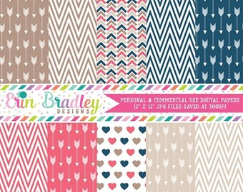 80% OFF SALE Arrows Hearts & Chevron Digital Paper Graphics Commercial Use OK Digital Scrapbook Paper Instant Download